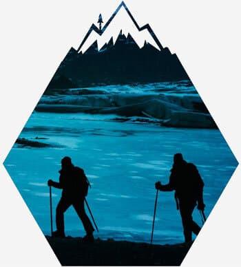 Snowshoe trek high above the lake